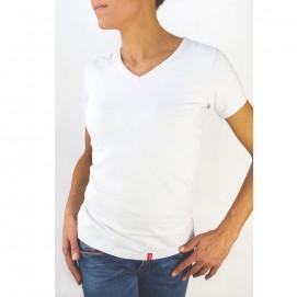 Tee-shirt femme manches courtes blanc bio-céramique porté