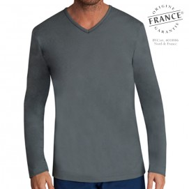 Tee-shirt homme manches longues meilleur sommeil anthracite