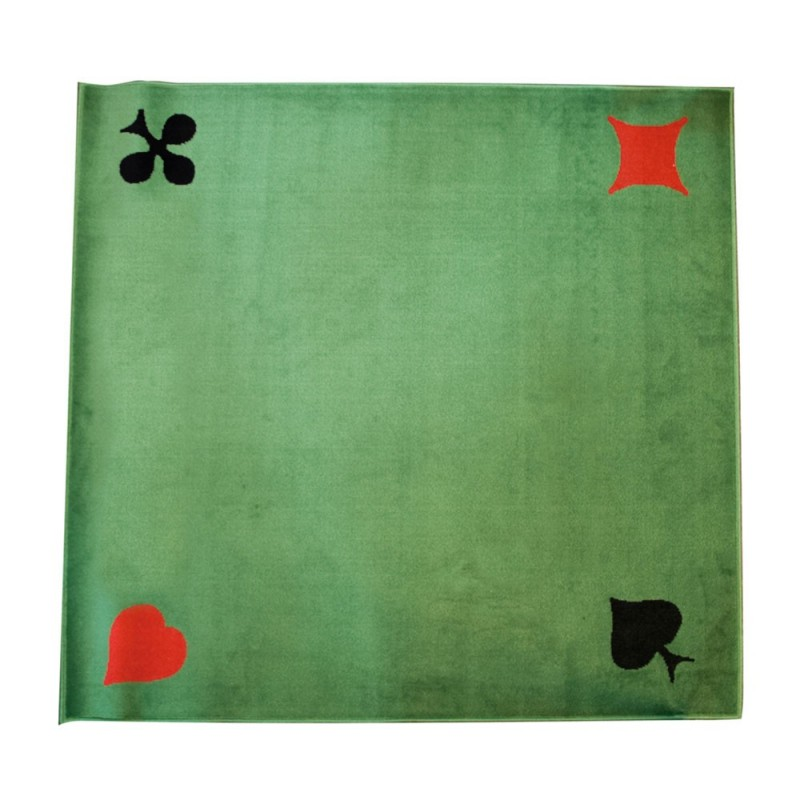 Tapis de cartes velours vert 77 x 77 France cartes
