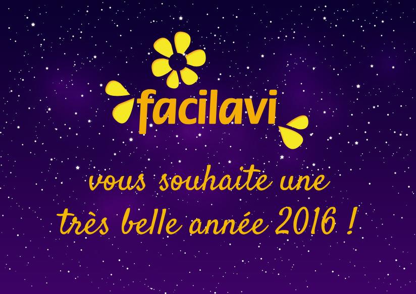Bonne année 2016 sur ciel étoilé