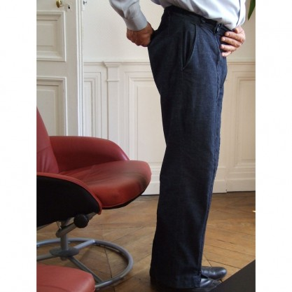 Pantalon homme jean indigo vue côté