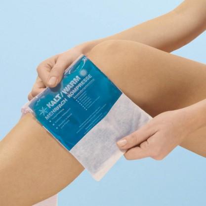 Compresse cryothérapie et thermothérapie Kryotherm en situation sur jambe