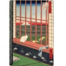 Puzzle d'art 200 grosses pièces Chat devant une rizière estampe