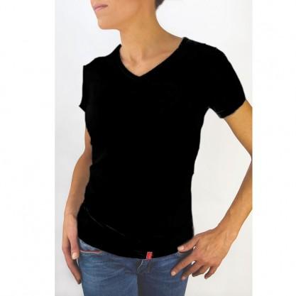 Tee-shirt femme manches courtes noir bio-céramique