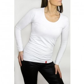 Tee-shirt femme manches longues blanc bio-céramique