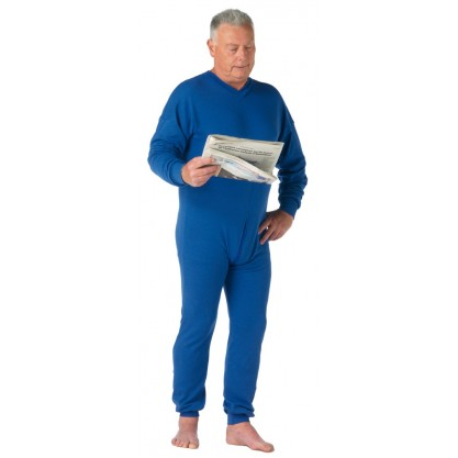 Grenouillère Homme sous-vêtement longue bleu roy