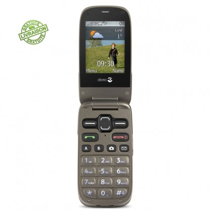 Doro téléphone mobile Phone Easy 622 Noir-Moka ouvert