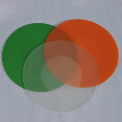 "Napperon anti-dérapant rond ""transparent"" vert orange transparent"