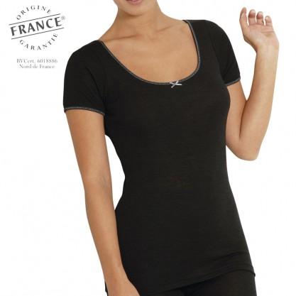 Chemise manches courtes femme laine et soie sport noir