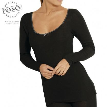 Chemise manches longues femme laine et soie sport noir