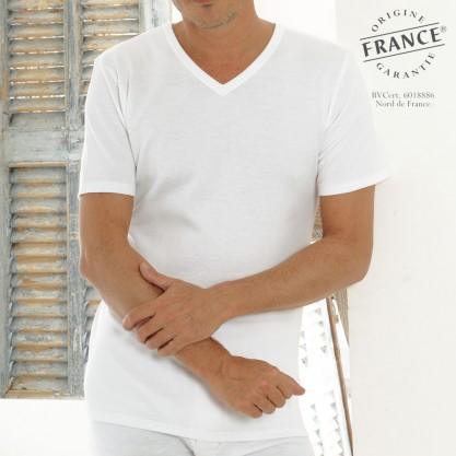 Tee-shirt homme tribothermic col en V blanc