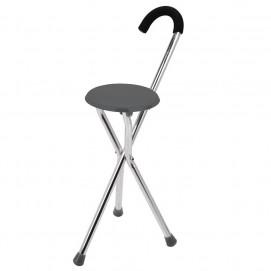 Canne siège pliante à 3 pieds posée siège gris