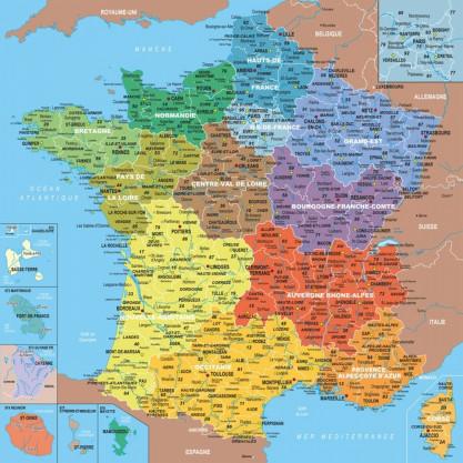 Puzzle d'art 100 grosses pièces Carte de France Puzzle