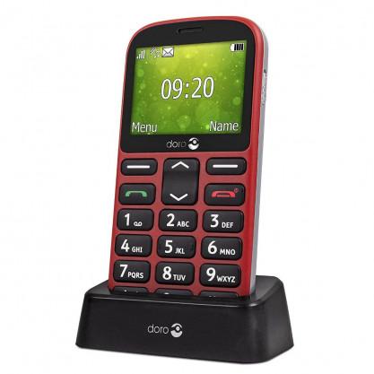 Doro 1360 téléphone mobile rouge dans socle