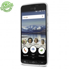 Doro 8040 Smartphone simplifié blanc de trois quarts