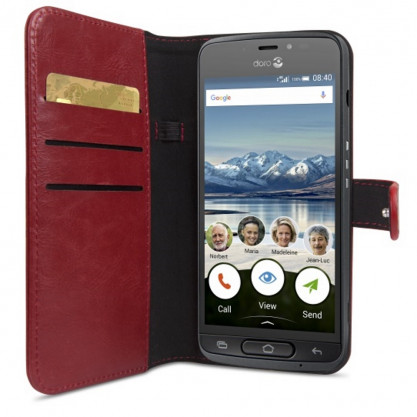 Housse portefeuille smartphone Doro 8040 rouge en situation