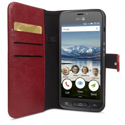 Housse portefeuille smartphone Doro 8040 rouge en situation