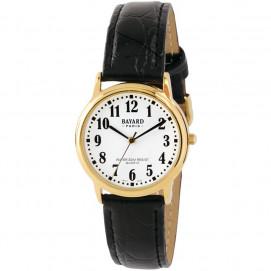 Montre bracelet cuir boîtier couleur or pour homme