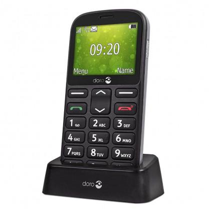 Doro 1361 téléphone mobile noir dans socle