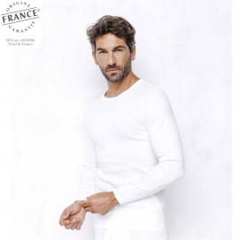 Tee-shirt homme tribothermic manches longues blanc porté