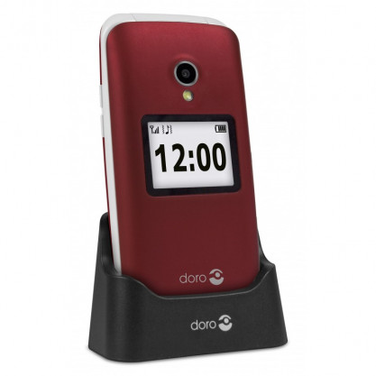 Doro 2424 mobile rouge sur socle chargeur