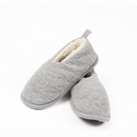 Chaussons gris pure laine