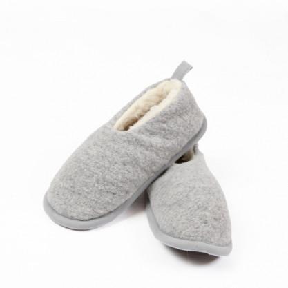 Chaussons gris pure laine