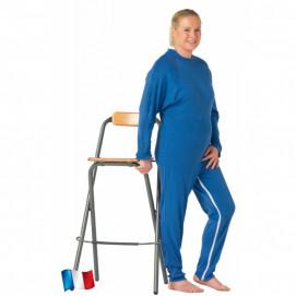 Grenouillère femme médicalisée manches et jambes longues bleue