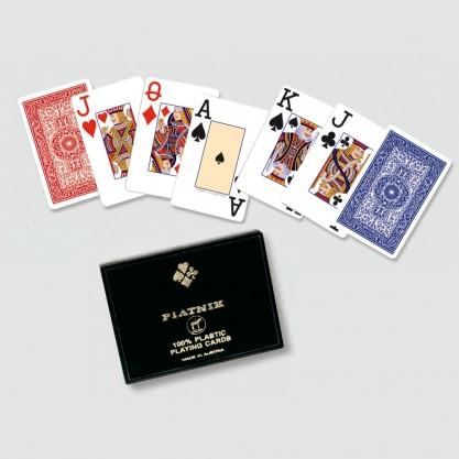 Coffret plastique de 2 jeux de bridge grand index - cartes plastique