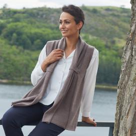 Veste acrylique et laine T 38 à 56 - beige