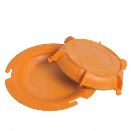 Assiette thermodynamique St-Romain isotherme - orange couvercle ouvert
