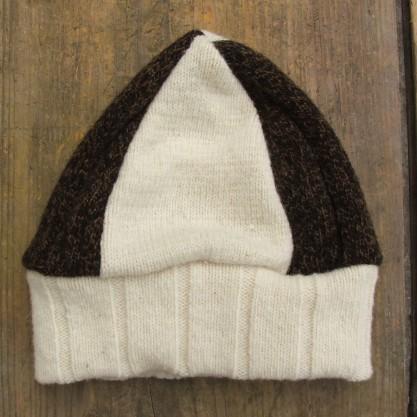 Bonnet bicolore bord à côtes en laine de la Bergerie Nationale