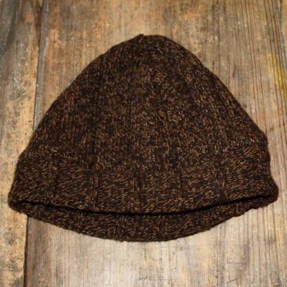 Bonnet marron bord côtes en laine de la Bergerie Nationale