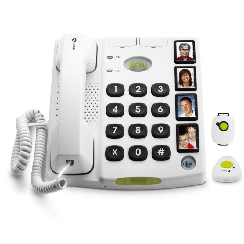 Téléphone avec fonction appel d'urgence et touche mémoire pour senior