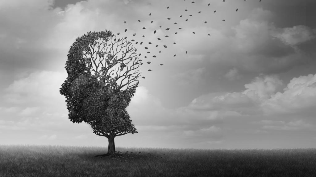Arbre avec une forme de tête humaine qui représente l'envol des pensées